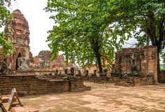 The Wat Mahathat, a ruined temple in Ayuthaya, Thailand. The Ayutthaya historical park covers the ruins of the old city of Ayutthaya, Thailand. The park was Stock Image