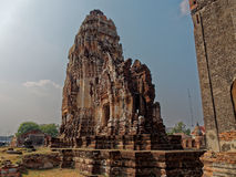 Wat Mahathat Ruins, the ruins of a Khmer style temple in Lop Buri, Thailand. Royalty Free Stock Image