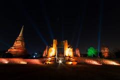 Wat Mahathat si accende Fotografie Stock Libere da Diritti