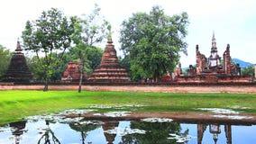 Wat mahathat in sukhothai historical park stock footage