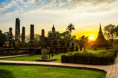 Wat Mahathat, Sukhothai Historical Park royalty free stock images