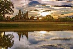 Wat mahathat. In Sukhothai historical at sunsetThailand stock photo