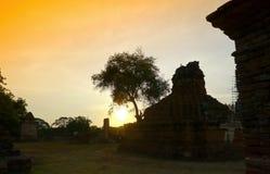 Wat mahathat temple ayutthaya. Wat mahathat temple ayutthaya province thailand in twilight Stock Image