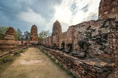 Wat Mahathat temple in cloudy day in Ayutthaya, Thailand. View of Wat Mahathat temple in cloudy day in Ayutthaya, Thailand stock photos