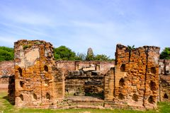 """Wat Mahathat, """"The temple of the Great Relic"""" Ayutthaya, Thailand royalty free stock images"""