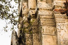 Wat Mahathat Temple Ruin, Ayuthaya, Tailandia Fotografia Stock Libera da Diritti