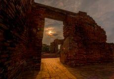 Wat Mahathat Temple Ruin Ayuthaya, Thailand Arkivfoto