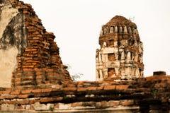 Wat Mahathat Temple Ruin Ayuthaya, Thailand Arkivbild