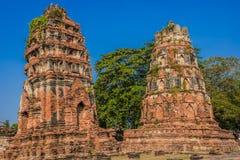 Wat Mahathat temple ruins Ayutthaya bangkok thailand Royalty Free Stock Images