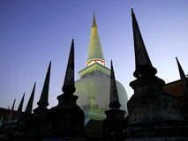 WAT MAHATHAT WORAMAHAWIHARN. In Nakhon Srithammarat province at southern of Thailand, The beautiful ancient great white pagoda shape bell upside down in Stock Photos