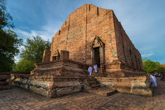 Wat Maheayong - Thai Ancient Temple. This 250 years old temple is one of the important historical temple in Ayutthaya province. In every Buddhist holy day Royalty Free Stock Photos