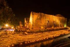 Wat Maheyong in Ayutthaya, Makha Bucha day Stock Image