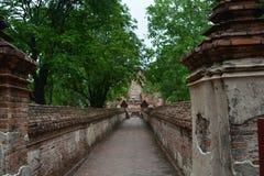 Wat maheyong Landscape at Ayutthaya. Wat maheyong, the lanmark of Ayutthaya. Tourism calf admire a lot Royalty Free Stock Photography
