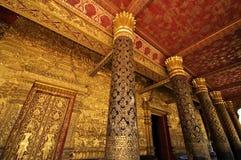 Wat Mai柱子在Luang Prabang,老挝的 库存照片
