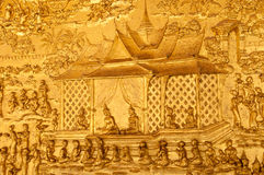 Wat Mai wall texture close up, Luangprabang,Laos Royalty Free Stock Photos
