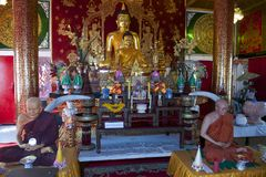 Wat Mani Phraison interior, town of Mae Sot, Tak province, Thailand Stock Photography