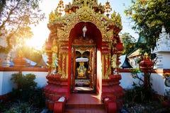 Wat Ming Muang, Chiang Rai. Wat Ming Muang gate entrance against sunset, Chiang Rai, Thailand Royalty Free Stock Images