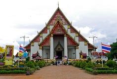 Wat Mongkhon Bophit tempel, Ayutthaya, THAILAND Royaltyfria Bilder