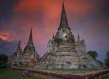 Wat Monkonbapit del vecchio tempio di Ayuthaya Fotografie Stock Libere da Diritti