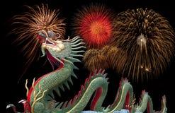 wat muang китайского дракона гигантское Стоковая Фотография