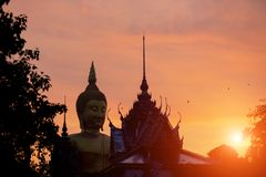 Wat Muang Ang Thong Thailand Silhouette buddha statue and temple. Landmark of Asia Royalty Free Stock Image