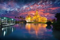 Wat None Kum. At dusk, Nakhon Ratchasima province Thailand Stock Photos
