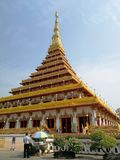 Wat Nong Waeng, beautiful temple in the north-eastern part of Thailand. THE 9th FLOORS FISHNET FORM - STUPA located in Khon-Khan province in Thailand, Noth royalty free stock photo