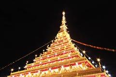 Wat Nong Waeng den kungliga templet, Khon Kaen, Thailand, natt tim Royaltyfri Foto