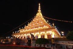 Wat Nong Waeng den kungliga templet, Khon Kaen, Thailand, natt tim Royaltyfria Bilder