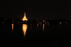 Wat Nong Waeng, o templo real, Khon Kaen, Tailândia, noite tim Foto de Stock Royalty Free