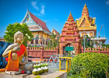 Wat Ounalom Pagoda, Phnom Penh, Kambodja stock foto's