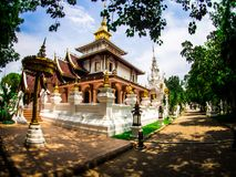 Wat Pa Dara Pirom Lanna architecture, Chiang Mai Thailand stock photography