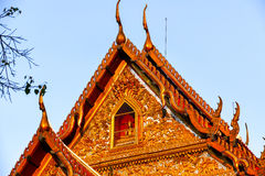 Wat Pathum Wanaram Temple. The upper triangular area of ​​the roof Stock Photos