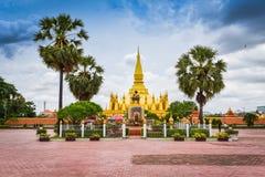 Wat Pha That Luang landmark Laos. Pagoda at Wat Pha That Luang landmark of Vientiane, Laos stock photo