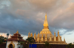 Wat Pha That Luang temple in Vientiane, Laos. Royalty Free Stock Images