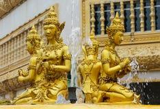Golden sculptures at fountain in Wat Pha Nam Yoi Thailand. Wat Pha Nam Yoi golden sculptures at the fountain. Phra Maha Chedi Chai Mongkol Pagoda, Wat Pha Nam Stock Photos