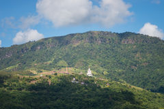 Wat Pha Sorn Kaew. Five white Buddha with mountain at Wat Pha Sorn Kaew, Khao Kho, Phetchabun Royalty Free Stock Image