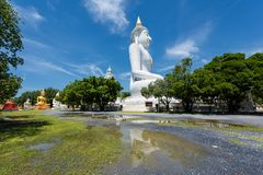 Wat Phai Rong Wua, Suphanburi. Big white Buddha statue with reflection against blue sky at sunny day in Wat Phai Rong Wua, Suphanburi, Thailand stock photography