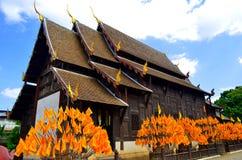 Wat Phan Tao tempel i Chiang Mai Thailand Royaltyfria Foton