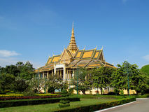 Wat Phnom, Cambodia. Stupa in a Buddhist Temple in Cambodia containingBuddhistrelics. Palace in Phnom Penh, Wat Phnom. Sunny day with clear blue sky stock photo