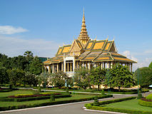 Wat Phnom in Phnom Penh, Cambodia. Stupa in a Buddhist Temple in Cambodia containing Buddhist relics. Palace in Phnom Penh, Wat Phnom. Sunny day with clear Stock Photography