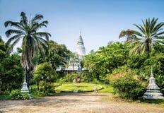 Wat Phnom temple landmark in central Phnom Penh city Cambodia Royalty Free Stock Photo