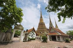 Wat Pho寺庙的外部在曼谷,泰国 库存照片