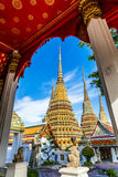 Wat pho is the beautiful temple in Bangkok, Thailand. The official name being Wat Phra Chetuphon Vimolmangklararm Rajaworamahavihara Stock Image