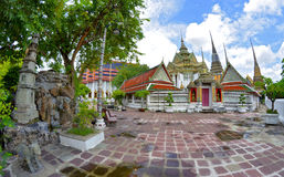 The Wat Pho. Gardens of the Wat Pho in Bangkok, Thailand stock image