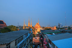 Wat Pho, known also as the Temple of the Reclining Buddha, at dusk Stock Images