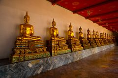 Free Wat Pho Or Wat Phra Chetuphon,the Temple Of The Reclining Buddha In Bangkok Of Thailand.Golden Buddha Statue Royalty Free Stock Photography - 56590567