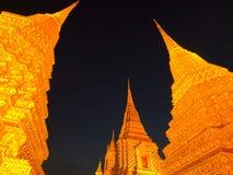 Wat Pho på natten Royaltyfri Foto