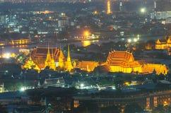 Wat Pho-Tempel in der Dämmerung, Bangkok, Thailand stockbild