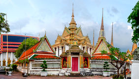 Wat Pho Temple in Bangkok, Thailand. Panorama of Wat Pho Temple in Bangkok, Thailand. Wat Pho known also as the Temple of the Reclining Buddha Royalty Free Stock Photos